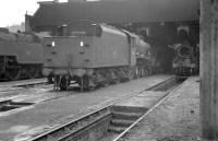 Locomotives on shed at Bangor on 1 April 1963, with Jubilee 4-6-0 45672 <I>Anson</I> in the centre of the picture.<br><br>[K A Gray&nbsp;01/04/1963]