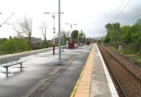 Looking along the island platform at Langside station, Glasgow, on Sunday 6 May 2007. View is south east towards Cathcart. <br><br>[John Furnevel&nbsp;06/05/2007]