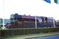 6233 <I>Duchess of Sutherland</I> on display at Butlins Camp, Heads of Ayr, in August 1965. <br><br>[G W Robin&nbsp;08/08/1965]