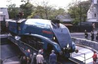 4498 <I>Sir Nigel Gresley</I> on the turntable at Ferryhill shed on 20 May 1967.<br><br>[G W Robin&nbsp;20/05/1967]