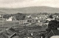 'Aboyne from Railway Bridge'. This is an extract from a postcard. The view is of the station from the east end, looking west.<br><br>[Ewan Crawford Collection&nbsp;//]
