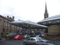 West end down side former bay platforms and canopy within what is now a parking area at Newcastle Central station, seen here on 28 November 2013.<br><br>[David Pesterfield&nbsp;28/11/2013]