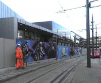 Wraps off. The Haymarket mural being dismantled on 10 December 2013. [See image 45165]<br><br>[John Yellowlees&nbsp;10/12/2013]