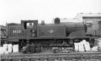 Ex-Caledonian McIntosh 2P 0-4-4T 55221 (or most of it) stands in a siding alongside Corkerhill shed in a photograph thought to have been taken in 1961, the year of its withdrawal. Prior to its arrival at Corkerhill the 1914 veteran had spent 8 years based at Keith shed, wher e it was a regular performer on the Banff branch. 55221 was eventually cut up at Connells of Coatbridge in September 1963. <br><br>[David Stewart&nbsp;//1961]