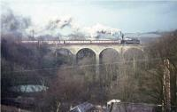 A Standard class 4 2-6-4T crosses Busby Viaduct in April 1965 with a train for East Kilbride.<br><br>[G W Robin&nbsp;/04/1965]