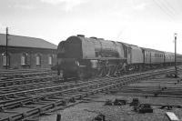 46241 <I>City of Edinburgh</I> drifts into Carlisle from the south on 1 June 1963 at the head of the 9.15am ex-Crewe.<br><br>[K A Gray&nbsp;01/06/1963]