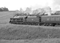 Royal Scot 46115�<I>Scots Guardsman</I>�accelerates away from the Appleby water stop on 20th June 2013 with the southbound�<I>Cumbrian Mountain Express</I>. <br><br>[Bill Jamieson&nbsp;20/06/2013]