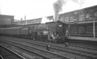 Britannia Pacific no 70042 <I>Lord Roberts</I> with an up military special at Carlisle on 30 May 1964. [Editors note: Interesting that the locomotive allocated to haul this particular military special should be named after one of the most successful British military commanders of the 19th century - Field Marshal Frederick Sleigh Roberts (1832-1914).]<br><br>[K A Gray&nbsp;30/05/1964]