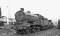 J39 0-6-0 no 64733 awaiting disposal at Eastfield depot on 22 January 1962. The locomotive had been withdrawn from Carlisle Canal shed in October 1961 and was eventually cut up at nearby Cowlairs in August 1962. [See image 25070]<br><br>[David Stewart&nbsp;22/01/1962]