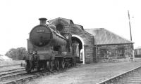 Visiting Pickersill 4-4-0 no 54495 standing in front of Wick shed in September 1961. The Inverness based locomotive was eventually withdrawn from there 6 months later.<br><br>[David Stewart&nbsp;08/09/1961]