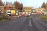 The southern approach to Hardengreen Roundabout on the A7 on 15 December 2013. [See image 43044] <br><br>[John Furnevel&nbsp;15/12/2013]