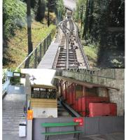 The Territet Funicular in Montreux was recently refurbished but one of the old cars has been preserved at the lower station alongside its modern (and much smaller) replacement. The outer wheels of the cars have double flanges to guide them whereas the inner wheels are flangeless allowing them to pass over the cables and points at the midway loop. [See image 44710] for a view of the entire line.  <br><br>[Mark Bartlett&nbsp;09/09/2013]