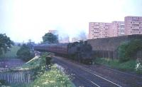Standard class 4 2-6-4T 80063 with the 5.08pm ex-St Enoch photographed on 1 June 1965 shortly after leaving Pollokshaws West.<br><br>[G W Robin&nbsp;01/06/1965]