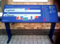 All touchy feely - this 3-dimensional tactile map at Loughborough is not only useful for the partially sighted, but is admirably detailed - it even shows the platform-less through line on the Falcon Works side.<br><br>[Ken Strachan 06/12/2013]