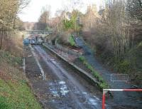 All appears fairly quiet in this view north over the old Eskbank station on 15 December 2013, with works activity starting to wind down for the Christmas holiday break. <br><br>[John Furnevel&nbsp;15/12/2013]