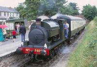 Kitson�0-6-0ST No 5459 <I>Austin No 1</I> with a train in Chinnor Station on 29 July 1996.<br><br>[Peter Todd&nbsp;29/07/1996]