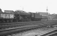 WD Austerity 2-8-0 no 90522 runs south through Doncaster in 1962 with a coal train.<br><br>[K A Gray&nbsp;01/09/1962]