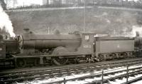 Scott class 4-4-0 no 62422 <I>Caleb Balderstone</I> in the shed yard at Hawick in 1958, its final year of operation.<br><br>[K A Gray&nbsp;//1958]