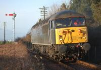 DC Rail 56312 waits for the signal to move into the loco sidings at Boness on 29 December.<br><br>[Bill Roberton&nbsp;29/12/2013]