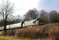 D6836 with a train near Ropley on the Mid-Hants Railway on 28 December 2013.<br><br>[Peter Todd&nbsp;28/12/2013]
