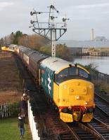 Newly restored 37401�<I>Mary Queen of Scots</I>�leads a train into Boness on 29 December, with 47643 and 56105 on the rear.<br><br>[Bill Roberton&nbsp;29/12/2013]