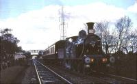 CR123 stands at Addiewell on 19 April 1965 with Scottish Rambler No 4 (Train B). The special was on its way from Glasgow Central to Edinburgh Princes Street. [See image 35468]<br><br>[G W Robin&nbsp;19/04/1965]