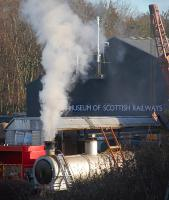 The boiler of Hunslet austerity 3818 of 1954, formerly of Comrie Colliery, Fife, undergoes a steam test at Boness on 29 December.<br><br>[Bill Roberton&nbsp;29/12/2013]