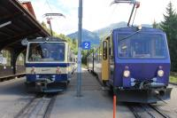 After three days of low cloud, bright sunshine on the morning of 9 September made the Rochers-de-Naye rack railway very busy. A packed four-car train on the left is heading for the mountain while the descending 303 on the right is nearly empty as they pass at Caux station. Several passengers were enjoying the view from the rear cab of unit 301. <br><br>[Mark Bartlett&nbsp;09/09/2013]