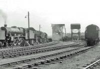 The shed yard at Corkerhill on 29 July 1963. Jubilee 45622 <I>Nyassaland</I> stands on the left.<br><br>[John Robin&nbsp;29/07/1963]