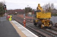 Looking north at Ladybank Station during track renewal on 5 January 2014. DBS 66107 stands in the backround. <br><br>[Bill Roberton&nbsp;05/01/2014]