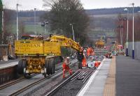 Looking south at Ladybank Station during track renewal works on 5 January 2014.<br><br>[Bill Roberton&nbsp;05/01/2014]