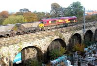 View of Slateford Viaduct from the parallel Union Canal aqueduct on 7 October 2002, as EWS 66161 crosses with an eastbound coal train.<br><br>[John Furnevel&nbsp;07/10/2002]