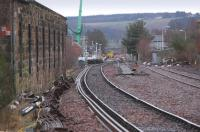 Looking south to Ladybank Junction past the ruinous E P & D workshops on 5 January - looking like the left hand line might be realigned through the middle of the formation.<br><br>[Bill Roberton&nbsp;05/01/2014]
