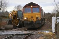 66175 waits with a train of ballast hoppers on the Newburgh line north of Ladybank station on 5 January during track renewal works. [See image 45867]<br><br>[Bill Roberton&nbsp;05/01/2014]