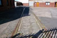 The only trace I could find of the railway ever having been at Troon South Pier - embedded track in the premises of Ailsa Shipbuilding, all fenced off in September 2009.<br><br>[Colin Miller&nbsp;12/09/2009]