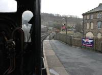 <I>Waiting for the off</I>. Driver's view from the cab of Midland 4F 0-6-0 43924 as it waits to depart from Keighley for Oxenhope in January 2012. This ex-Barry loco has now been on the Worth Valley for over 40 years.<br><br>[Mark Bartlett&nbsp;07/01/2012]