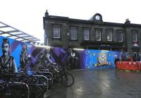 The mural at Haymarket station on 15 January 2014, now relocated to the front of the 1842 building for the duration of its refurbishment. <br><br>[John Yellowlees&nbsp;15/01/2014]