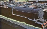 Gresley K2 2-6-0 no 61788 <I>Loch Rannoch</I> abandoned in the yard at Eastfield in July 1961, a month after withdrawal by BR. The locomotive was cut up at Cowlairs Works in September of that year.<br><br>[John Robin&nbsp;/07/1961]