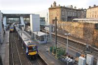 View west over Haymarket Station on 14 January 2014, with the old footbridge now removed. <br><br>[Bill Roberton&nbsp;14/01/2014]