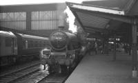Bank Hall Jubilee 45721 <I>Impregnable</I> waits to restart from Carlisle on 3 September 1965 with the 1.10pm Liverpool - Glasgow Central / Edinburgh Princes Street. D5253 stands alongside on the centre road.<br><br>[K A Gray&nbsp;03/09/1965]