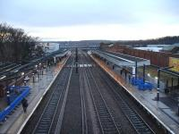 View south from the new footbridge at the north end of Wakefield Westgate on 9 January 2014, showing canopy and platform construction works still in progress. The original steam era footbridge at the south end is now blocked out of use, and will no doubt be removed in due course. <br><br>[David Pesterfield&nbsp;09/01/2014]