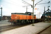 A Swedish diesel propelling wagons onto a train ferry at Trelleborg in February 1995.<br><br>[Colin Miller&nbsp;/02/1995]