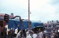 4498 <I>Sir Nigel Gresley</I> takes water at Perth on 20 May 1967 during the A4 Locomotive Society Railtour from Glasgow to Aberdeen [see image 45991].<br><br>[G W Robin&nbsp;20/05/1967]
