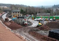 View south over the station site at Gorebridge on 17 January 2014.<br><br>[John Furnevel&nbsp;17/01/2014]