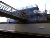 The temporary footbridge in place over the operational platforms at Gleneagles on 21 January 2014. Various improvements are being undertaken here which will make the station much more accessible in advance of September's Ryder Cup. [See image 46041]<br><br>[John Yellowlees&nbsp;21/01/2014]