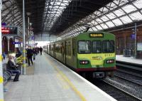 A <I>Dart</I> service to Greystones stands at Dublin (Pearse) platform 2 on 19 January 2014.<br><br>[John Steven&nbsp;19/01/2014]