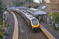 The 08.20 Aberdeen - Taunton CrossCountry service passes Aberdour on 21 January.<br><br>[Bill Roberton 21/01/2014]
