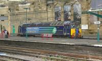 DRS 57309 arrives at Carlisle platform 5 on 17 October 2013 on a driver training run.<br><br>[Ken Browne&nbsp;17/10/2013]