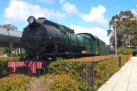 Scene at East Perth Terminus on 20 September 2008. The plinthed steam locomotive is 3ft 6in gauge S Class 4-8-2 no S542 <i>Bakewell</i>. Unfortunately someone thought it was a good idea to obscure the wheels with a  hedge.<br><br>[Colin Miller&nbsp;20/09/2008]