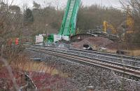 Renewal of Standingstane Road bridge - a little south of Dalmeny Junction - on 26 January 2014.  The old structure lies to the right.<br><br>[Bill Roberton&nbsp;26/01/2014]